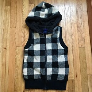 Plaid fleece hoodie vest